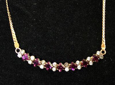 vintage rolled-gold Krementz amethyst colored rhinestone necklace