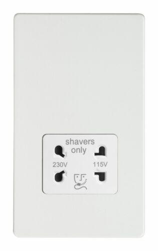 Varilight xdqssws Screwless Premium Blanc Dual Voltage Shaver Socket 240V//115V