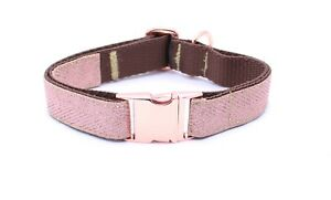 Rose-Gold-Buckle-Rose-Gold-Herringbone-Dog-Puppy-Collar-LIMITED-EDITION