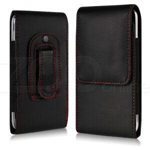 Negro-Delgado-Cuero-Artificial-Clip-Cinturon-Funda-SOPORTE-PARA-SAMSUNG-Telefono
