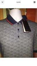 AUTHENTIC  New Gucci Polo, T- Shirt, Short Sleeve, Gray And Blue,100% Cotton,M&L
