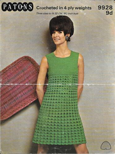 """1970s Hippie 4 ply Festival Womens Dress 9928 32-34/"""" Vintage crochet pattern"""