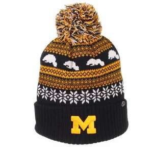 4ffef392122 Image is loading Michigan-Wolverines-Zephyr-Carousel-Pom-Knit-Beanie