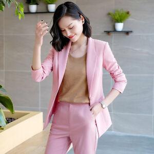the best attitude f3ac0 b32bd Dettagli su Elegante Tailleur completo donna rosa slim giacca manica lunga  pantaloni 7173