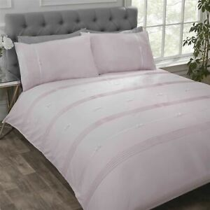 PINTUCK-PLEATS-RIBBON-BOWS-PINK-WHITE-COTTON-BLEND-SINGLE-DUVET-COVER