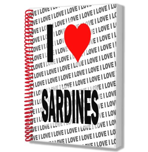 I Love Sardines A5 Notebook Pad Diary Drawings Birthday Christmas Gift