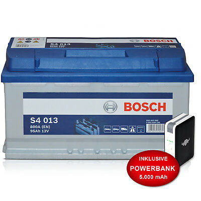 Autobatterie Bosch S4 013 - 12 V / 95 Ah - 800 A/EN KFZ PKW inkl. 10Ah PowerBank
