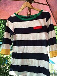 Henri-Lloyd-Womens-Nautical-Striped-Shirt-Navy-Blue-White-Green-Red-Accents-Med