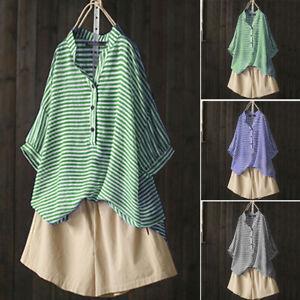 Mode-Femme-Chemise-Simple-Manche-Courte-Boutons-Bande-Stripe-Haut-Tops-Plus