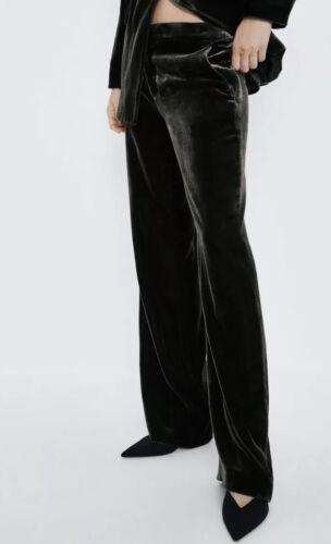 ZARA Velours Pantalon mi-taille gris taupe 8775//928 taille XS 4 6