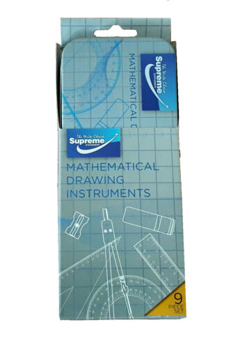 Maths Set Geometry Compass Ruler Set Square Protractor School 9 Piece Set in Tin