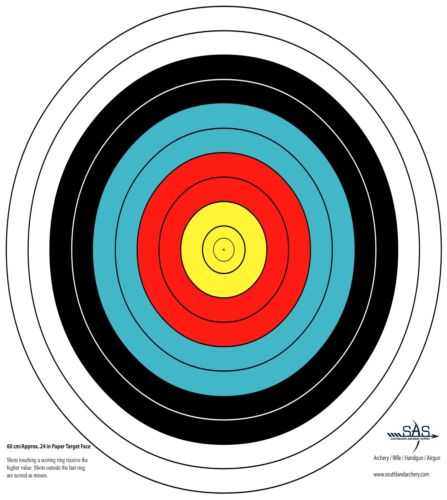 SAS 10-Ring Paper Target Face High Quality Paper Material Approx 60 cm// 24 in