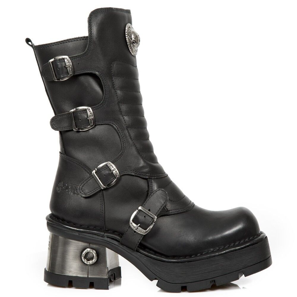 NEWROCK M.373QX-S3 Donna Nero Stivali in pelle di mucca Punk Gotico Pesante