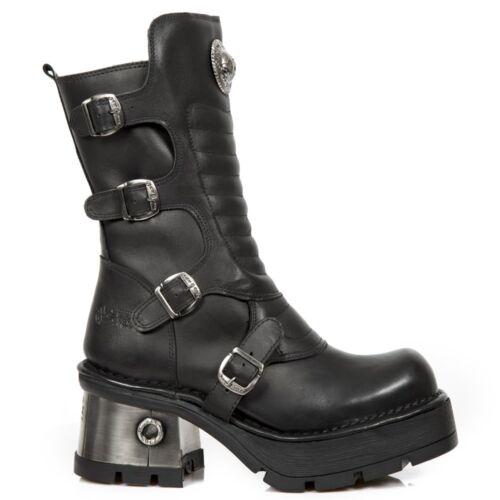New in Heavy Punk nera Rock s3 M di Donna mucca Gothic 373qx pelle Stivali 11qYwr