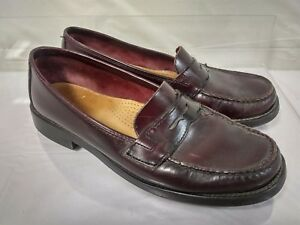 Gh Bass Mens Burgundy Penny Loafers Pull On Shoes Leather Size 8 5 D