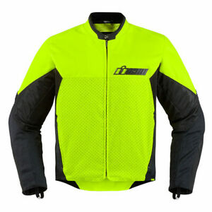 Icon Konflict Mens Textile Motorcycle Jacket Hi-Viz Yellow