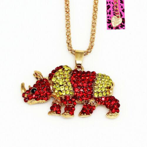 Betsey Johnson Crystal Rhinestone Cute Rhinoceros Pendant Chain Necklace