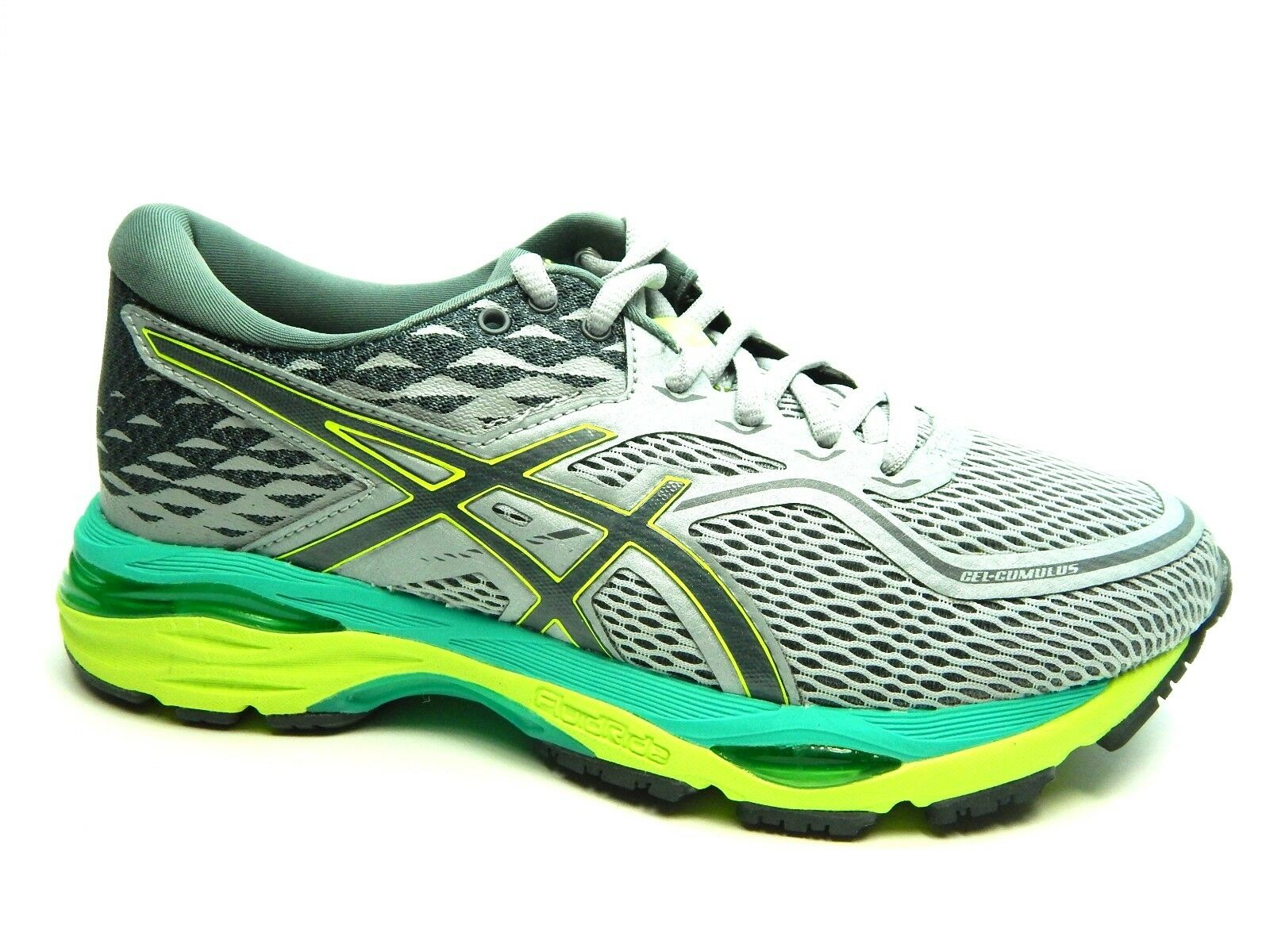 ASICS GEL CUMULUS 19 T7B8N 9697 MIDGREY CARBON SAFETY YELLOW WOMEN SHOES 6 & 8 best-selling model of the brand