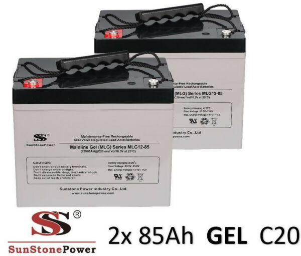 2 Stück 12v 85ah C20 Gel Solarbatterie Batterie Akku Solar Usv Boot Wohnmobil Firm In Structuur