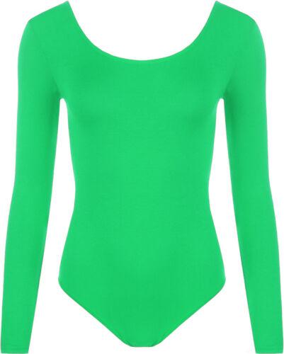 Ladies Womens Scoop Neck Bodysuit Long Sleeve Leotard Plain Stretch Basic Top