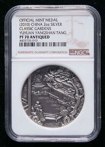 NGC-PF70-2010-Classical-Garden-Coin-Medal-034-YUYUAN-034-2oz-Antique-Silver