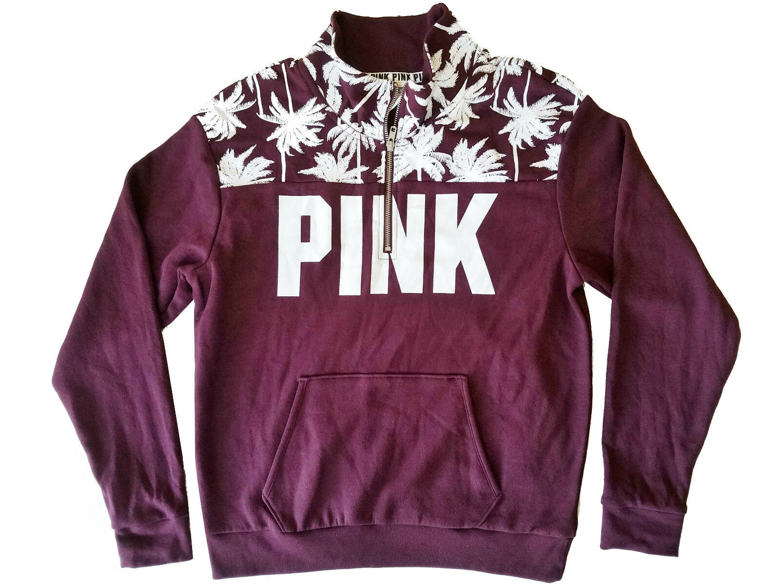 Victoria's Secret PINK Boyfriend Half Zip Palm Print Sweatshirt Burgundy