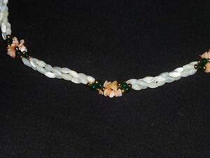 18ac080b657a7 Details about Mother of Pearl Coral Jade Necklace Triple Strand Twisted 23