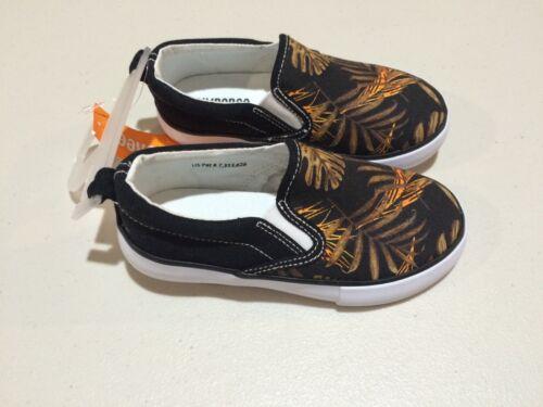NWT Gymboree Boy Sneakers Shoes Black Orange Palm Kid and Toddler Sizes slip on