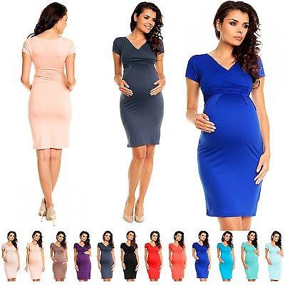Zeta Ville Maternity Women's Knee Length Stretch Dress 573