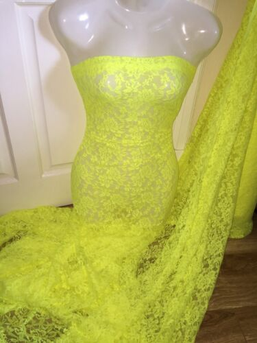 """5 MTR NEON YELLOW LACE NET LYCRA STRETCH FABRIC...60/"""" WIDE £17.49 SPECIAL OFFER"""