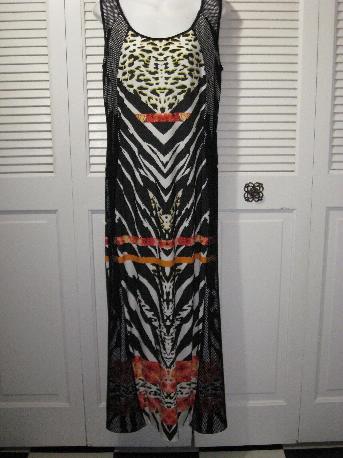 Frank Lyman Design Animal Print Floral Form Fitting Long Dress damen 10 US 12 UK