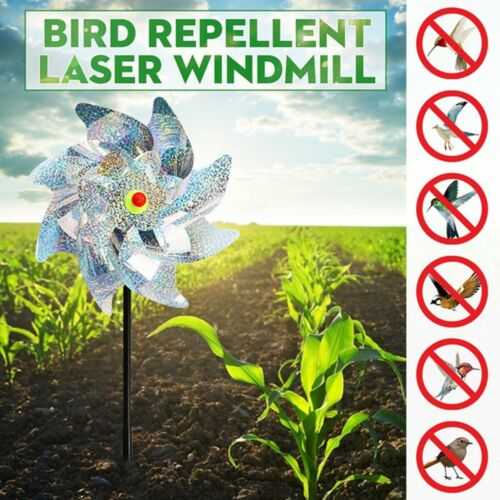 8PCS Bird Blinder Repellent PinWheels Sparkly Holographic Pin Wheel Spinners