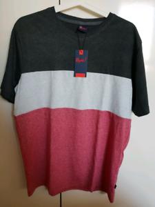 BRAND-NEW-Reph-FIRE-PIT-Tricolour-Striped-T-Shirt-SIZE-M