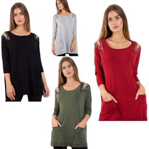 Womens Urban Mist Embellished Chain Shoulder Pocket Jumper Sweater Knitwear UK