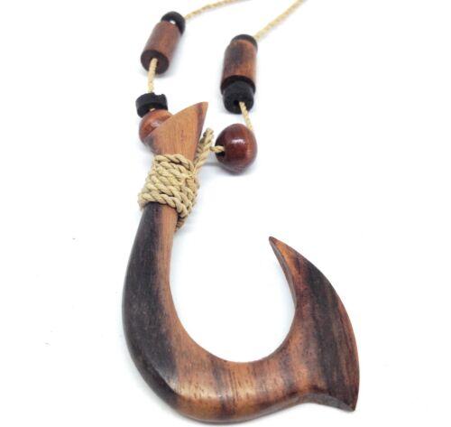 Hawaiian Polynesian Surfer Sono Wood Maori Fish Hook Pendant Necklace Hawaii