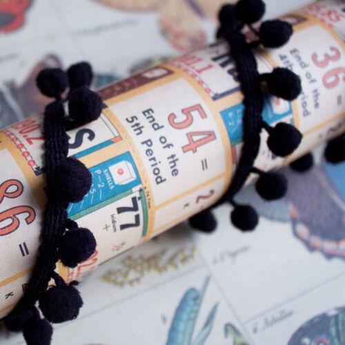 1m A Rollo Completo 10mm Negro Pom Pom Trim-Ideal Para Manualidades cojines y empavesado