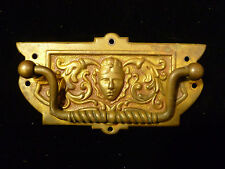 SET OF SIX VICTORIAN BRASS DRAWER PULLS WITH HUMAN MASK FACES - CIRCA 1880