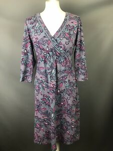 M-amp-S-Per-Una-Weekend-10-Dress-Grey-Pink-Floral-Faux-Wrap-Tunic-Stretch-3-4-Sleeve