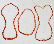 3 Chinese Archaic or Antique Carnelian Agate Bead Necklaces From CHAD HERRINGTON