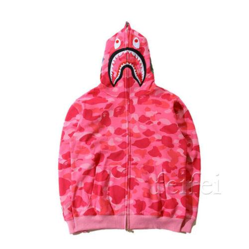 Hot Bathing Ape Bape Shark Jaw Camo Full Zipper Hoodie Men/'s Sweats Jacket Coat