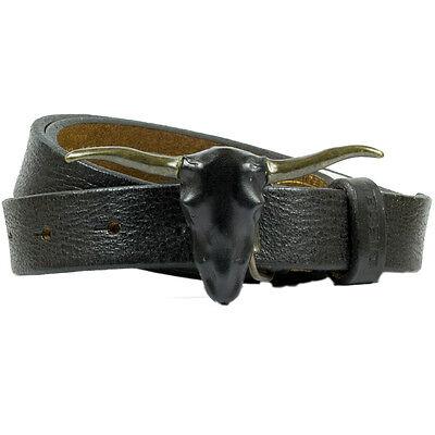 Diesel Gürtel Blong Belt Leder Mit Stierkopf Schnalle Schwarz Neu