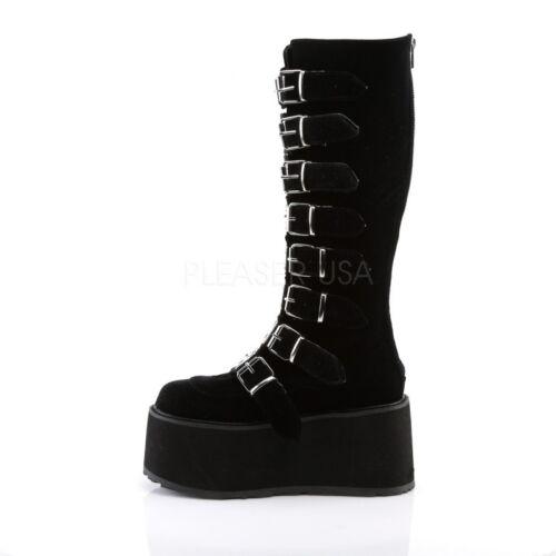 Velvet Black Demonia 318 Platform Boots Damned XqqnwSAR