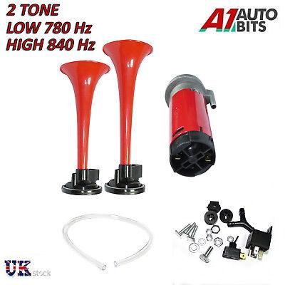 Twin Loud Air Horn Dual-Trumpet 12v Car Truck Rv Train Boat Loud