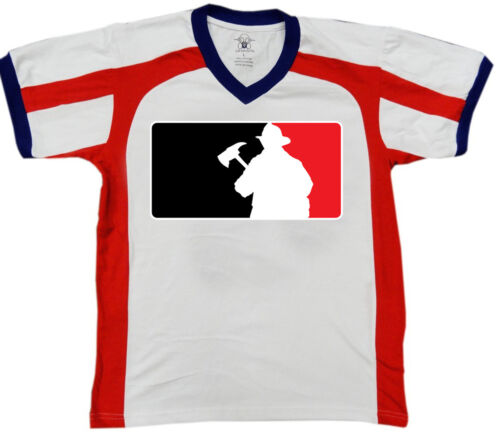 Firemen Pro Sports League Logo Firefighter Outline Fight Men/'s V-Neck Sport Tee