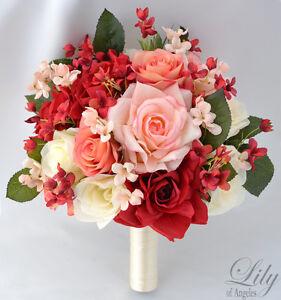 17pcs wedding bridal bouquet set silk flower decoration package red image is loading 17pcs wedding bridal bouquet set silk flower decoration mightylinksfo