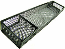 DESK ORGANIZER BLACK WIRE MESH 3 COMPARTMENTS Office Home Accessory Tray New I