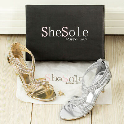 AU FREE SHIP Womens Strappy Low Heels Wedding Sandals Dance Silver Shoes | eBay
