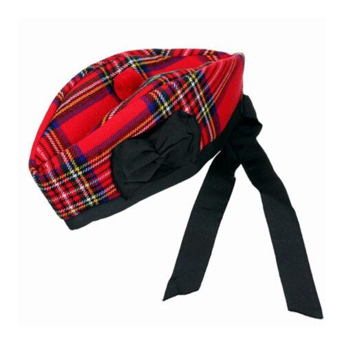 Nuevo Sombrero Escocés Piper 100/% pura lana Glengarry-Royal Stewart-Elegir tamaño