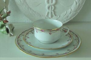 Bescheiden Limoges Porzellan Tasse . Tee Gedeck . 3-teilig . Rosengirlande- Chastagner Einfach Zu Verwenden