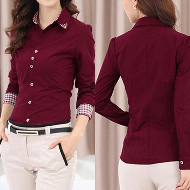 Fashion Womens Lady Long Sleeve OL Shirt Turn-down Collar Button Blouse Tops HM